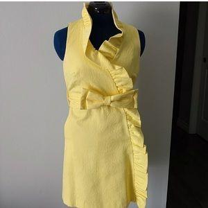 Milly yellow ruffle tie dress